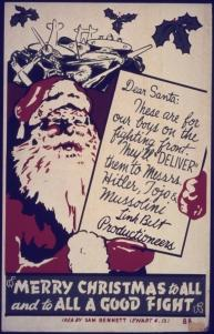 "Poster ""Merry Christmas to All And to All a Good Fight"" (Feliz Natal a todos e para todos um Bom Combate)."